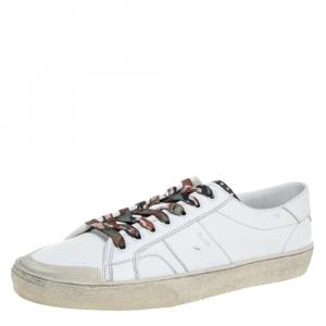 Saint Laurent Paris White Distressed Leather Camo Lace SL/37 Classic Court Sneakers Size 45