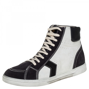 Saint Laurent White/Black Suede Colorblock High top Sneakers Size 44