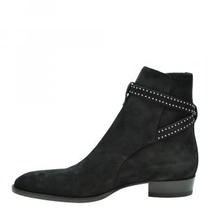 Saint Laurent Paris Black Suede Studded Boots Size EU 42