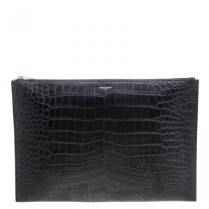 Saint Laurent Paris Black Croc Embossed Leather Porte Document