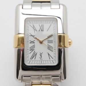 Yves Saint Laurent Rectangular Two Toned Unisex Wristwatch