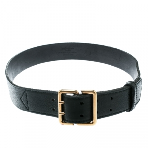 Saint Laurent Black Leather Buckle Belt 100 CM