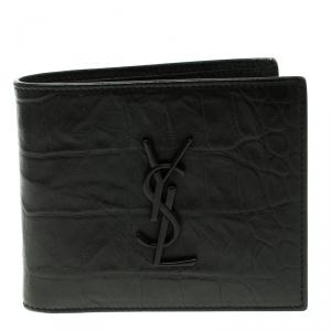 Saint Laurent Black Croc Embossed Leather Bifold Wallet