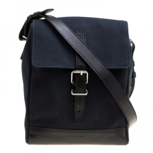 Saint Laurent Black Canvas Hunting Crossbody Bag