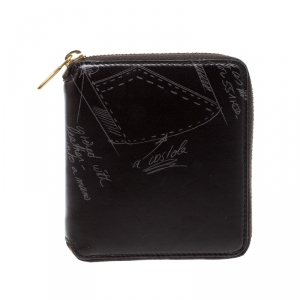 Saint Laurent Paris Black Printed Leather Zip Around Compact Wallet