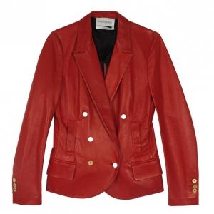 Yves Saint Laurent Red Leather Blazer Jacket M