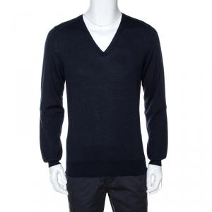 Saint Laurent Paris Navy Blue Wool V Neck Sweater XL - used