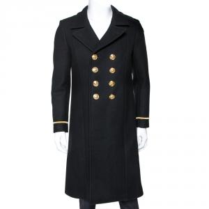 معطف سان لوران باريس صدر مزدوج صوف أسود M