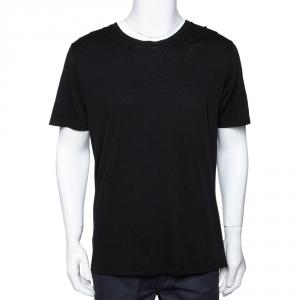 Saint Laurent Black Cotton Signature Logo Embroidered Round Neck T Shirt M