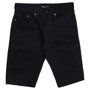 Saint Laurent Paris Black Denim Bermuda Shorts S