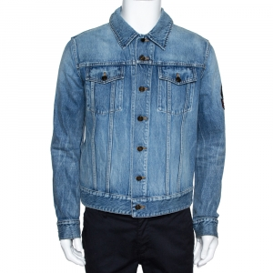 Saint Laurent Paris Blue Denim Logo Appliqued Jacket M