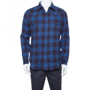 Saint Laurent Paris Navy Blue Plaid Flannel Long Sleeve Shirt L