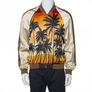 Saint Laurent Paris Cream Palm Tree Printed Satin Lurex Knit Trim Detail Zipper Front Jacket XL