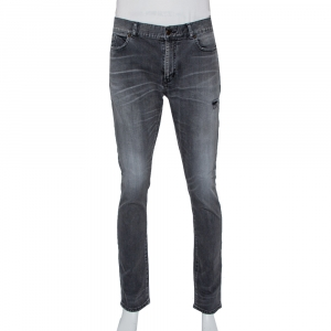 Saint Laurent Paris Grey Faded Denim Distressed Straight Leg Jeans L