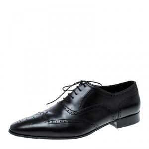 Saint Laurent Paris Black Brogue Leather Oxfords Size 44.5