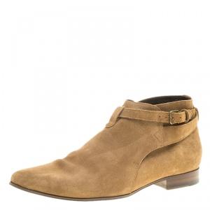 Saint Laurent Paris Beige Suede Jodhpur Chelsea Boots Size 42
