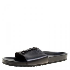 Saint Laurent Paris Black Leather Joan Flat Slides Size 41