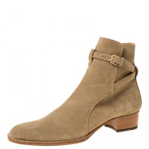 Saint Laurent Paris Beige Blake Jodhpur Ankle Boots Size 43