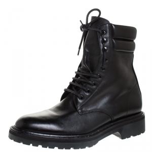 Saint Laurent Black Leather Lace Up Trekker Ankle Boots Size 43.5