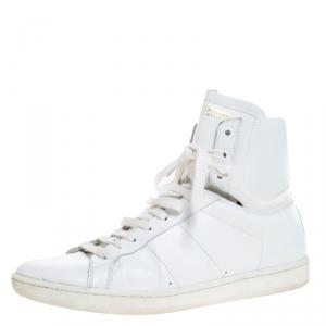 Saint Laurent Paris White Leather Court Classic High Top Sneakers Size 41
