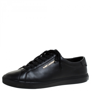 Saint Laurent Black Leather Andy Low Top Sneakers Size 43