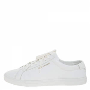 Saint Laurent White Leather Andy Low Top Sneakers Size 43