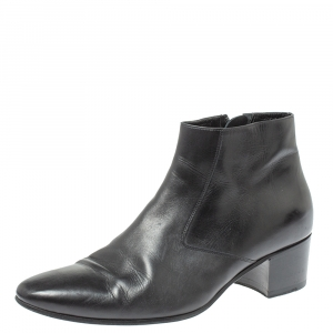 Saint Laurent Black Leather Western Ankle Boots Size 41