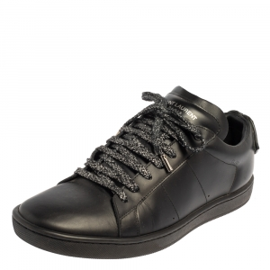 Saint Laurent Black Leather Signature Court SL/01 Lips Sneakers Size 39.5