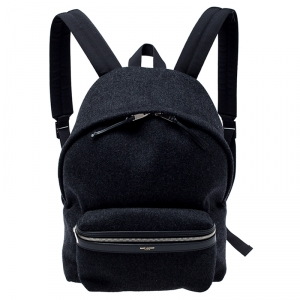 Saint Laurent Dark Grey Wool Classic Backpack