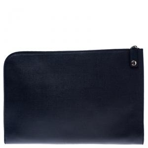 Saint Laurent Paris Navy Blue Leather Documents Portfolio Case