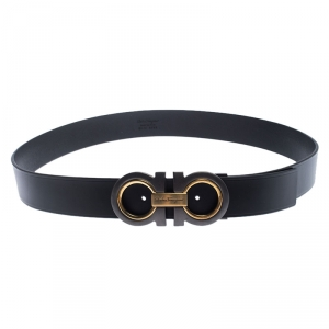Salvatore Ferragamo Black Leather Gancini Belt 115cm