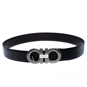 Salvatore Ferragamo Black/Brown Leather Gancini Belt 105CM
