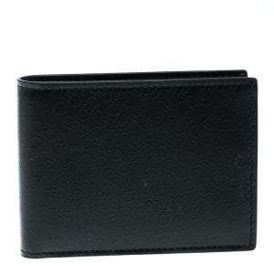 Salvatore Ferragamo Black Leather Logo Embossed Bifold Wallet