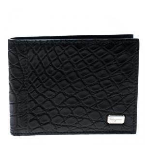 Salvatore Ferragamo Black Croc Bi-fold Wallet