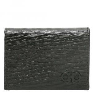 Salvatore Ferragamo Black Leather Gancini Card Holder