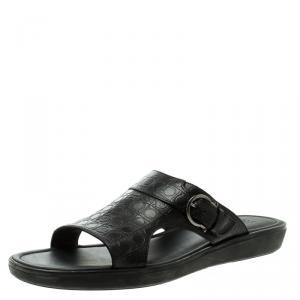 Salvatore Ferragamo Black Gancio Embossed Leather Raja Flat Sandals Size 43