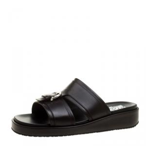 Salvatore Ferragamo Brown Leather Lutfi Slides Size 42