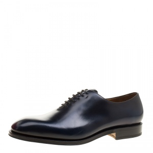 Salvatore Ferragamo Oxford Blue Leather Carmelo Oxfords Size 45
