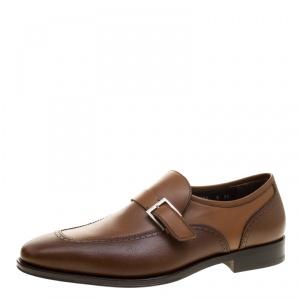 Salvatore Ferragamo Brown Leather Liverpool Monk Strap Loafers Size 42