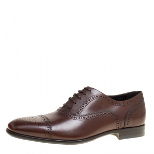 Salvatore Ferragamo Brown Leather Brogue Oxfords Size 41.5