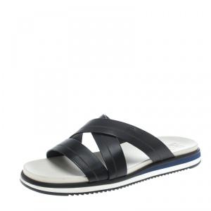 Salvatore Ferragamo Black Leather Lao Sandals Size 43