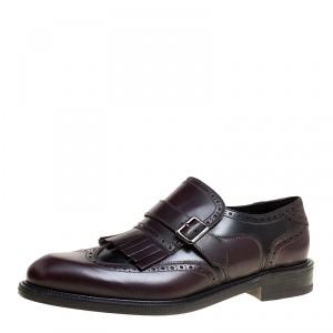 Salvatore Ferragamo Two Tone Brogue Leather Genesis Fringe Detail Wingtip Loafers Size 44.5
