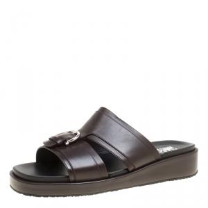 Salvatore Ferragamo Brown Leather Lutfi Slides Size 44