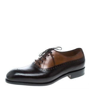 Salvatore Ferragamo Special Edition Two Tone Brogue Leather Oxfords Size 43.5