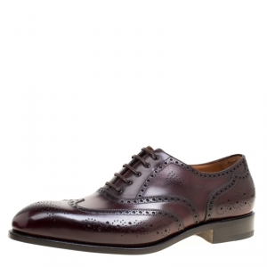 Salvatore Ferragamo Special Edition Wine Brogue Leather Trieste Oxfords Size 44