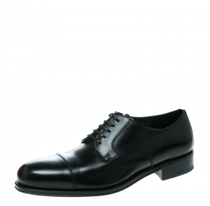 Salvatore Ferragamo Black Leather Rand Lace Up Derby Size 41