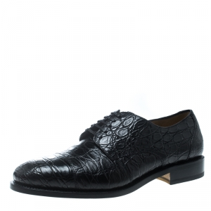 Salvatore Ferragamo Black Crocodile Leather Nordland Derby Size 45