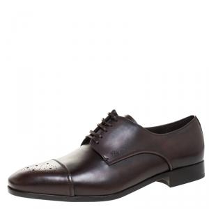 Salvatore Ferragamo Brown Brogue Leather Cairo Derby Size 44 - used