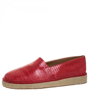 Salvatore Ferragamo Red Lizard Lampedusa Slip-On Sneakers Size 43