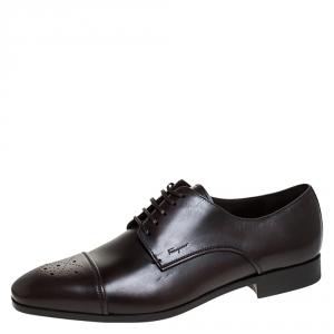 Salvatore Ferragamo Brown Brogue Leather Cairo Derby Size 45